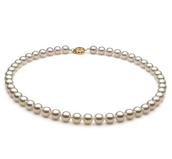 Halskette mit weißen, 7.5-8mm großen Janischen Akoya Perlen in AAA-Qualität , Sanja