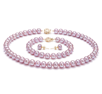 7.5-8mm AAA-Qualität Süßwasser Perlen Set in Saphira Lavendel