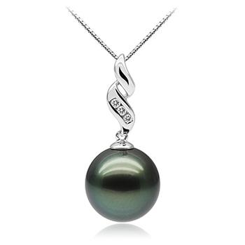 Anhänger mit schwarzen, 10-10.5mm großen Tihitianischen Perlen in AAA-Qualität , Seductive