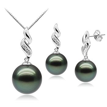 Set mit schwarzer, 9-11mm großer Tahitianischer Perle in AAA-Qualität , Seductive