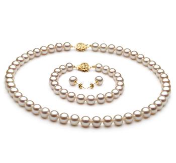 7-8mm AAA-Qualität Süßwasser Perlen Set in Selinde Weiß