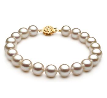 Armreifen mit weißen, 8.5-9mm großen Janischen Akoya Perlen in AAA-Qualität , Semja
