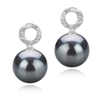 Paar Ohrringe mit schwarzen, 9-10mm großen Tihitianischen Perlen in AAA-Qualität , Shellry