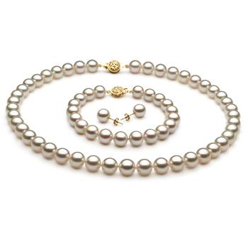 8.5-9mm AAA-Qualität Japanische Akoya Perlen Set in Sienna Weiß