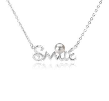 5-6mm AAAA-Qualität Süßwasser Perlenhalskette in Smile Weiß