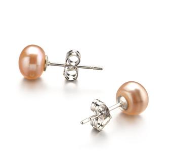 Paar Ohrringe mit rosafarbenen, 6-7mm großen Süßwasserperlen in AA-Qualität , Steffi