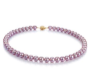 Halskette mit lavendelfarbenen, 7-8mm großen Süßwasserperlen in AAAA-Qualität , Sveja