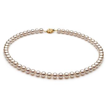 Halskette mit weißen, 6-7mm großen Süßwasserperlen in AAAA-Qualität , Syltje