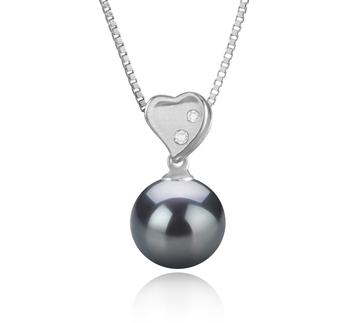 Anhänger mit schwarzen, 9-10mm großen Tihitianischen Perlen in AAA-Qualität , Taima - Heart