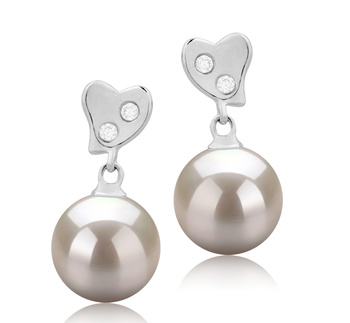 8-9mm AAAA-Qualität Süßwasser Paar Ohrringe in Taima Weiß