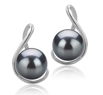 Paar Ohrringe mit schwarzen, 6-7mm großen Süßwasserperlen in AAAA-Qualität , Tamika