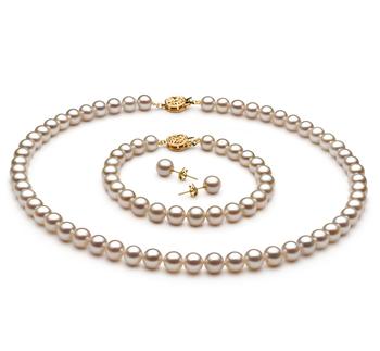 6-7mm AAAA-Qualität Süßwasser Perlen Set in Tanita Weiß