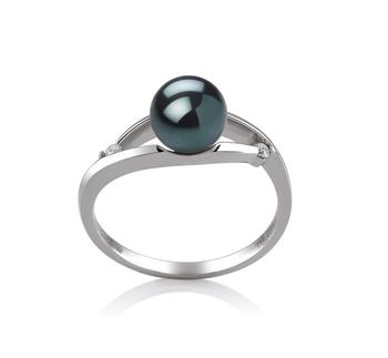 Ring mit schwarzen, 6-7mm großen Janischen Akoya Perlen in AA-Qualität , Tanja