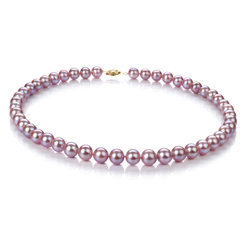Halskette mit lavendelfarbenen, 8.5-9mm großen Süßwasserperlen in AA-Qualität , Taya