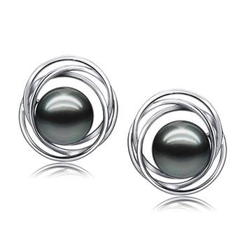 9-10mm AAA-Qualität Tahitisch Paar Ohrringe in Triple Circle Stud Schwarz