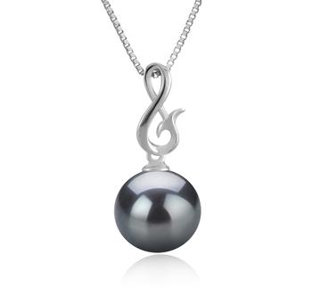 Anhänger mit schwarzen, 9-10mm großen Tihitianischen Perlen in AAA-Qualität , Valena