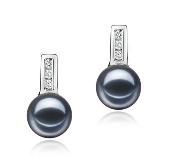 Paar Ohrringe mit schwarzen, 7-8mm großen Süßwasserperlen in AAAA-Qualität , Valery