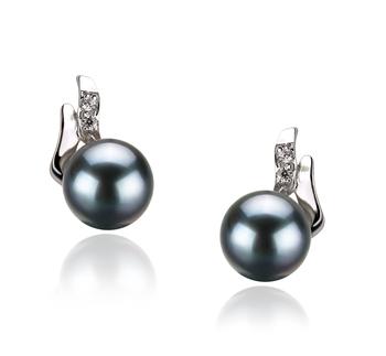 PearlsOnly - Paar Ohrringe mit schwarzen, 6-7mm großen Janischen Akoya Perlen in AA-Qualität , Valeska