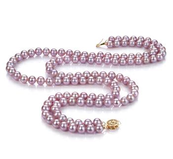 Halskette mit lavendelfarbenen, 6-6.5mm großen Süßwasserperlen in AA-Qualität , Vanessa