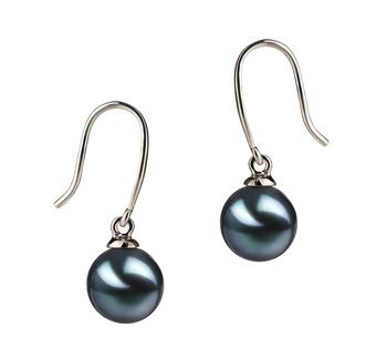 Paar Ohrringe mit schwarzen, 7-8mm großen Janischen Akoya Perlen in AA-Qualität , Veronika