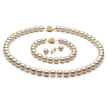7-8mm AAAA-Qualität Süßwasser Perlen Set in Vienne Weiß