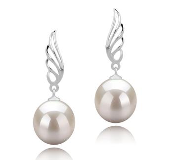 Paar Ohrringe mit weißen, 9-10mm großen Süßwasserperlen in AAAA-Qualität , Wing