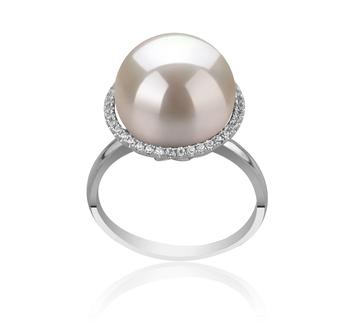 Ring mit weißen, 12-13mm großen Süßwasserperlen Edison in AA+-Qualität , Yanaka