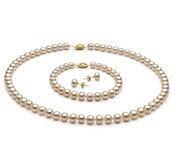6-7mm AA-Qualität Süßwasser Perlen Set in Ylenia Weiß