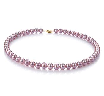 Halskette mit lavendelfarbenen, 7-8mm großen Süßwasserperlen in AA-Qualität , Yuna