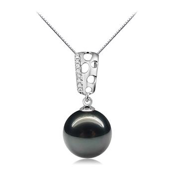 Anhänger mit schwarzen, 10-11mm großen Tihitianischen Perlen in AAA-Qualität , Zuella Perle
