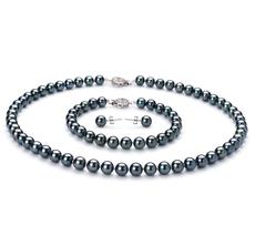 6.5-7mm AA-Qualität Japanische Akoya Perlen Set in Adriane Schwarz