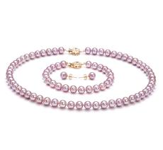 6-6.5mm AAAA-Qualität Süßwasser Perlen Set in Ailina Lavendel