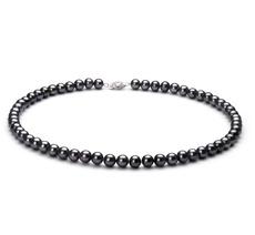 Halskette mit schwarzen, 6-7mm großen Süßwasserperlen in AA-Qualität , Alena