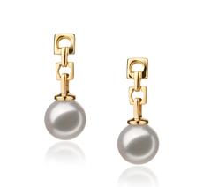 Paar Ohrringe mit weißen, 6-7mm großen Janischen Akoya Perlen in Hanadama - AAAA-Qualität , Alexa
