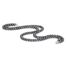 Halskette mit schwarzen, 6-7mm großen Süßwasserperlen in AA-Qualität , Alexandra