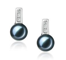 Paar Ohrringe mit schwarzen, 7-8mm großen Janischen Akoya Perlen in AA-Qualität , Alina