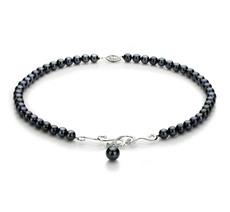 PearlsOnly - Halskette mit schwarzen, 6-9mm großen Janischen Akoya Perlen in AA-Qualität , Almira