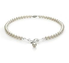 Halskette mit weißen, 6-10mm großen Süßwasserperlen in AA-Qualität , Almira