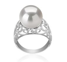 Ring mit weißen, 12-13mm großen Süßwasserperlen Edison in AA+-Qualität , Alva