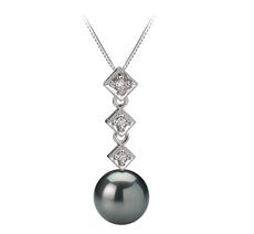 PearlsOnly - Anhänger mit schwarzen, 8-9mm großen Tihitianischen Perlen in AAA-Qualität , Analie