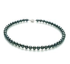 Halskette mit schwarzen, 7.5-8mm großen Janischen Akoya Perlen in AA-Qualität , Anna