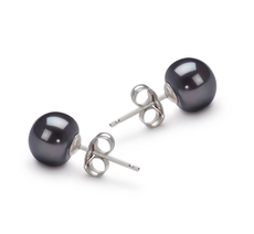 Paar Ohrringe mit schwarzen, 7-8mm großen Süßwasserperlen in AA-Qualität , Annemarie
