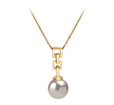PearlsOnly - Anhänger mit weißen, 6-7mm großen Janischen Akoya Perlen in AA-Qualität , Annika