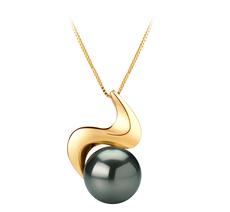 10-10.5mm AAA-Qualität Tahitisch Perlenanhänger in Annina Schwarz