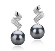 9-10mm AAA-Qualität Tahitisch Paar Ohrringe in Blair Schwarz