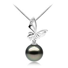 PearlsOnly - Anhänger mit schwarzen, 11-12mm großen Tihitianischen Perlen in AAA-Qualität , Butterfly