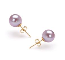 7-8mm AAAA-Qualität Süßwasser Paar Ohrringe in Carlina Lavendel