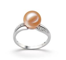 Ring mit rosafarbenen, 9-10mm großen Süßwasserperlen in AAAA-Qualität , Caroline