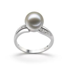 Ring mit weißen, 9-10mm großen Süßwasserperlen in AAAA-Qualität , Caroline