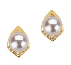 PearlsOnly - Paar Ohrringe mit weißen, 7-8mm großen Janischen Akoya Perlen in , Catrina